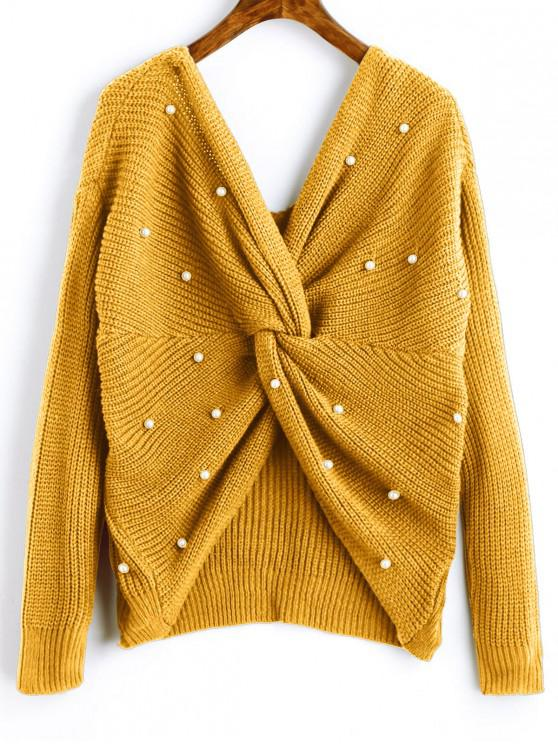 online V Neck Twist Pearly Sweater - MUSTARD ONE SIZE