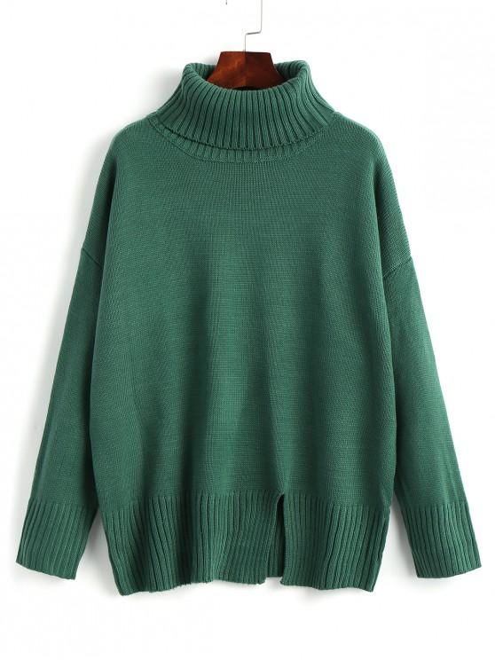 fashion Slit Oversized Turtleneck Sweater - GREEN ONE SIZE