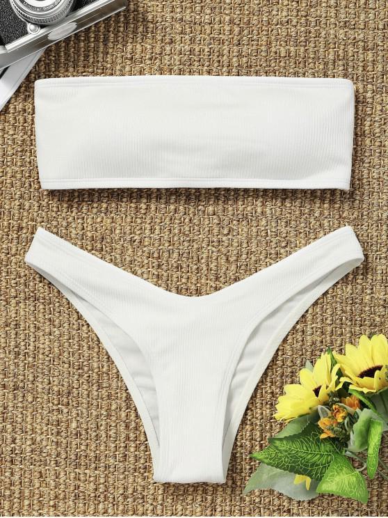 Hohe Schlitz Gerippter Bandeau Bikini Set - Weiß M