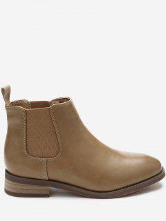 Low Heel Square Toe Chelsea Boots - Apricot 36