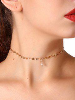 Faux Crystal Paillette Ornament Choker Necklace - Golden