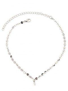 Faux Crystal Paillette Ornament Choker Necklace - Silver