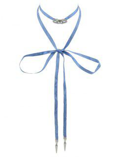 Bowknot Lace Choker Pendant Necklace - Blue
