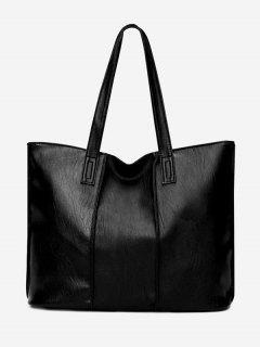 Faux Leather Nude Shoulder Bag - Black