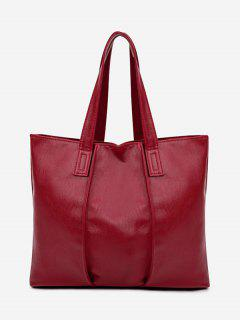 Faux Leather Nude Shoulder Bag - Red