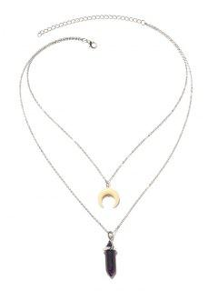 Valentine's Day Layered Faux Crystal Moon Pendant Necklace - Silver