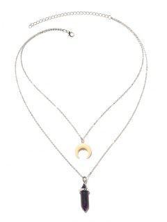 Collier à Pendentif En Forme De Lune En Similifourrure De La Saint-Valentin - Argent