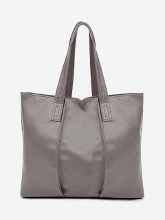 Faux Leather Nude Shoulder Bag - Gray