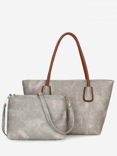 Braid Handles 2 Pieces Shoulder Bag Set - Gray