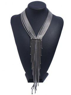 Collar Colgante Con Flecos Geométricos En Capas - Negro