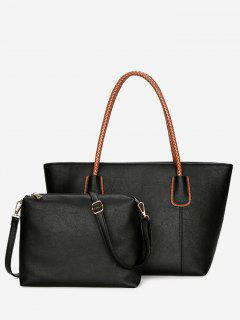 Braid Handles 2 Pieces Shoulder Bag Set - Black