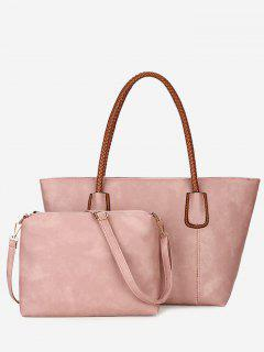 Braid Handles 2 Pieces Shoulder Bag Set - Pink