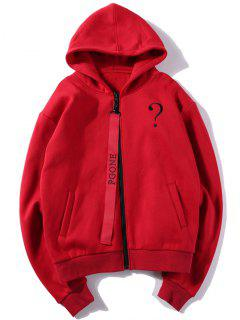 Letter Embroidered Fleece Zip Up Hoodie - Red L
