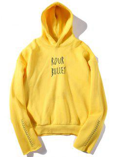 Embroidered Fleece Hoodie - Yellow S