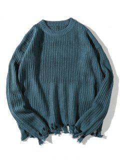 Distressed Hem Ribbed Texture Sweater - Peacock Blue M
