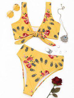 Bedruckter Knotted High Cut Bikini - Dunkel Gelb S