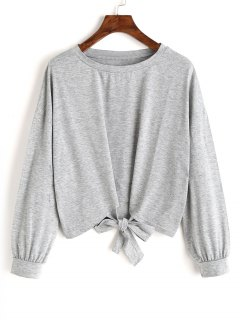 Loose Bowknot Cropped Sweatshirt - Gray L