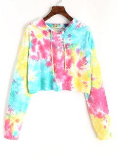 Cropped Colorful Ombre Hoodie - M