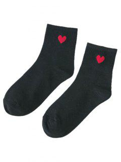 Small Heart Pattern Knitted Ankle Socks - Black