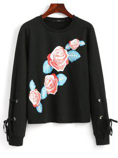 Self Tie Sleeve Floral Print Sweatshirt - Black S