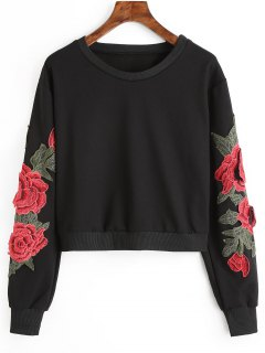 Floral Patched Crop Sweatshirt - Black L