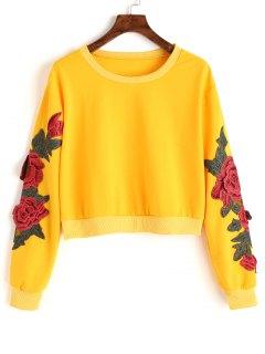 Mit Blumen Geflicktes Ernte-Sweatshirt - Gelb S