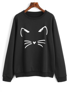 Cute Cat Graphic Sweatshirt - Black M