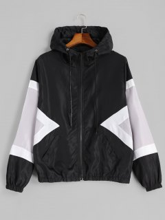 Color Block Zip Up Water Repellent Jacket - Black Xl