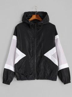 Veste Imperméable Contrastante à Fermeture Éclair - Noir Xl