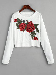 Floral Applique Ribbed Cropped T-shirt - White S