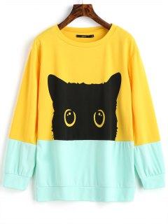 Contrasting Cute Cat Sweatshirt - Yellow M