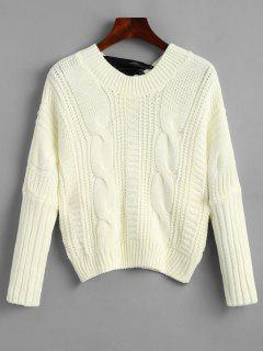Cable Knit Bowknot Chunky Sweater - Off-white