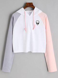 Raglan Sleeve Skull Patches Cropped Hoodie - White M