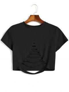 Cutout Ripped Cropped Top - Black M