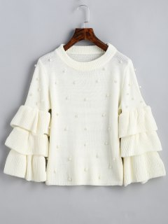 Layered Sleeve Faux Pearls Sweater - White