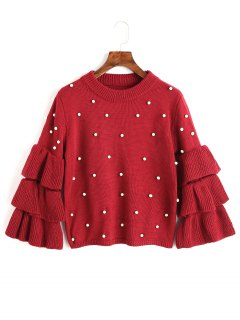 Layered Sleeve Faux Pearls Sweater - Red