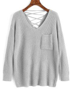 V Neck Lace Up Back Pullover Sweater - Gray