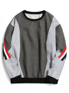 Fleece Striped Color Block Sweatshirt - Gray M