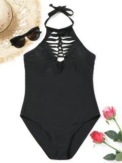 Macrame High Neck Swimsuit - Black L