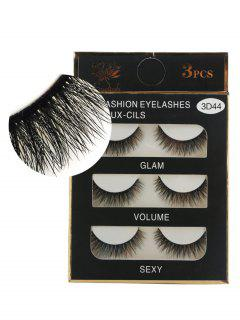 3Pcs Natural Effect Volumizing Makeup Fake Eyelashes - Black