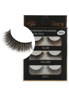 Professional 3Pcs Natural Effect Volumizing Fake Eyelashes - Black