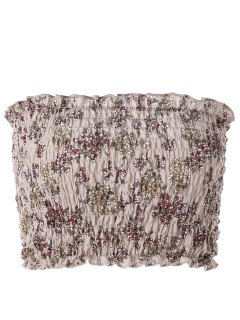 Floral Flounced Smocked Tube Top - Light Coffee Xl