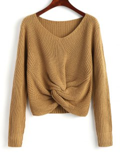 V Neck Twist Chunky Sweater - Khaki