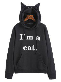 Front Pocket Letter Graphic Cat Hoodie - Black M