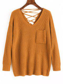 V-Ausschnitt Schnürung Zurück Pullover Pullover - Karamel