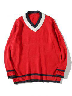 V Neck Cricket Sweater - Red M