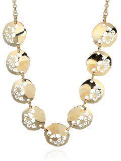 Alloy Flower Valentine's Day Charm Necklace - Golden