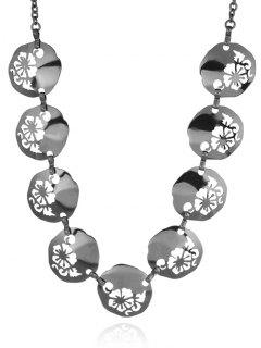 Alloy Flower Valentine's Day Charm Necklace - Black