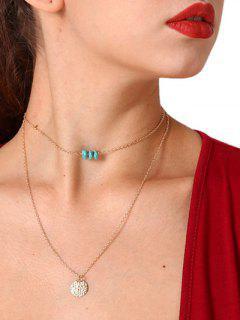 Türkis Layered Paillette Anhänger Halskette - Silber