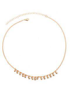 Collar De Cadenas De Metal De Perlas - Dorado